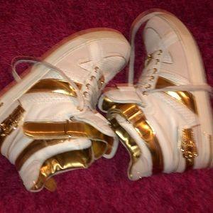 Michael Kors Shoes - Michael Kors White and Gold Hi Tops